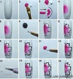 tutoriel fleur rose, one stroke NailartAngel Flower Nail Art Tutorial – Easy Nail Art flower nail art tutorial Hawaiian Flower Nails Joy S. Diy Nails, Cute Nails, Hawaiian Flower Nails, Nail Art Fleur, Orchid Nails, Hard Nails, One Stroke Nails, Flower Nail Art, Nagel Gel