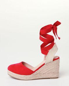 Sandales Rouges De Coin Espadrille - Rouge Glamour ocvTB5xpqN