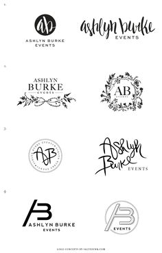 New Brand Launch: Ashlyn Burke Events - Salted Ink Design Co. | process: Logo Concepts