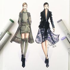 A @marissawebbnyc duo sketched with @copicmarker #fashionillustration…