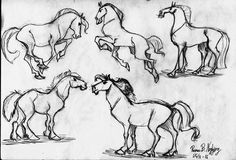 Rasmus B Najbjerg. Pencil. Sketches of horses.