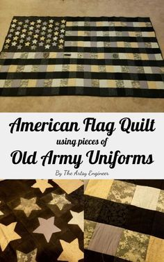 American Flag Quilt Using Old Army Uniforms In honor of Veterans Day coming up I wanted to share the quilt I made for my fiance with his old military uniforms Army Crafts, Military Crafts, Army Uniform, Military Uniforms, Marines Uniform, Military Awards, Quilting Projects, Sewing Projects, Sewing Ideas