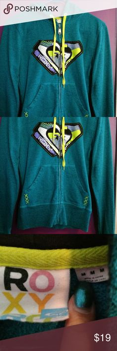 Dark teal roxy zip up Awesome condition worn only once. I'm moving and need to down size anything not bought by the end of August will be donated. Dark teal in color with yellow and purple design. Send me an offer Roxy Tops Sweatshirts & Hoodies