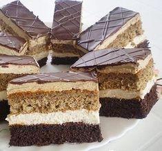 Eléggé sok minden kell hozzá, de nagy adag süteményt kapunk, szép magas szeletekkel. Baking Recipes, Cake Recipes, Dessert Recipes, Hungarian Recipes, No Bake Cake, Vanilla Cake, Nutella, Food And Drink, Yummy Food