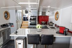 Businessman sells two-bed London home and buys houseboat One Bedroom Flat, Two Bedroom, Small Wet Room, Luxury Houseboats, Houseboat Living, L Shaped Sofa, Canal Boat, Tiny House Movement, Al Fresco Dining