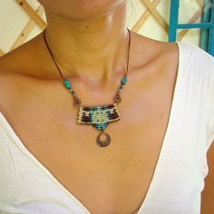 Cavendoli macrame necklace - blue night sky - beaded micro macrame necklace with copper spirals and dangle