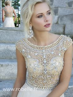 So Crystal Beading Evening Dresses Cap Sleeves Chiffon Floor Length Evening Gowns For ME! Homecoming,Celebrity Dresses,Open Back Prom Dresses,Champagne evening dresses Elegant Prom Dresses, Prom Dresses With Sleeves, Pretty Dresses, Beautiful Dresses, Bridesmaid Dresses, Formal Dresses, Wedding Dresses, Dress Prom, Gorgeous Dress