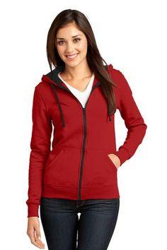 District - Juniors The Concert Fleece Full-Zip Hoodie Style DT801 #red #zipper #hoodie #district