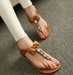 ENMAYER 2014 new fashion bohemian leather bow flat sandals beach casual women shoes size 35-40 $49.83