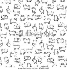 Seamless pattern with funny hand drawn cats. Animals vector illustration with adorable kittens. Tillable background for your fabric, textile design, wrapping paper or wallpaper.
