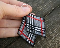 black, red, white, grey, unique gift, beaded, beadweaving earrings, toho, seed beads,  for her, as a gift, spring idea, Burberry motive by koralikowyraj on Etsy