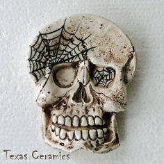 Cobwebs & Aged Skull Ceramic Tea Bag Holder Desk Accent Spoon Rest | TexasCeramics - Seasonal on ArtFire