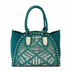 """Turquoise Mirrored Crystal Handbag EXTERIOR DIMENSION: 14""""L x 6""""W x 10""""H Drop length: 8"""" handheld  MATERIAL: Pebbled leatherette with matching trim Solid faille lining Gold plated hardware  DETAILS: Over the shoulder with zip closure Shoulder strap included Exterior back zip pocket Interior zip pocket and double slide pockets  NO TRADES. BNWOT. Bags"""