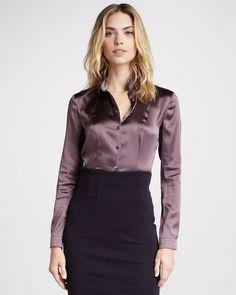 Long Sleeve Silk Blouse - Lyst