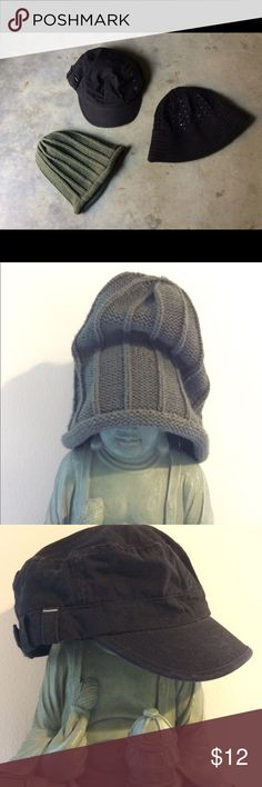 3 Hat Bundle for Fall Olive green knit beanie. Black cotton Roxy hat. Black 100% cotton crochet with solid rim by Cotton Country. All are OS and excellent condition. Thank you! Roxy Accessories Hats