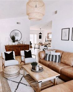 modern boho living room decor, modern boho family room design, neutral living room decor with leather sofa and rattan chandelier Boho Living Room, Neutral Living Rooms, Modern Living Rooms, Bright Living Room Decor, Brown Leather Couch Living Room, Brown Couch, Family Room Design, Living Room Inspiration, My New Room