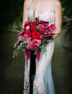 red rose feather bouquet