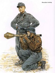 artwork of the illustrator adam hook showing waffen ss soldiers training with a panzerfaust anti-tank gun