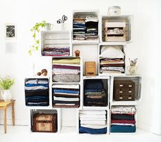 Feeling a little cramped in your bedroom? Try these ideas to bring your zen back! #DIY #TightSpace #Hacks #Bedroom Crate Storage, Diy Storage, Storage Shelves, Shelving Ideas, Storage Ideas, Record Storage, Storage Room, Ceiling Storage, Storage Hacks