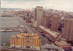 A bird's-eye view of Stuyvesant High School and the Tribeca Bridge.