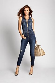 bebe denim jumpsuit | IM in Denim | Pinterest | Jumpsuits, Denim ...