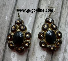 La Cruz Black and Gold Clay Earrings $29.95 www.gugonline.com
