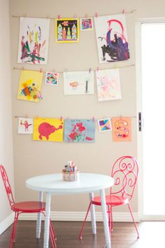 Simple And Cute Way To Display Kids Art In Play Room Creating A Wall This Would Be So Adorable Corner Area Where They Can