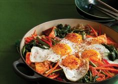 Bibimbap with Spicy Steamed Tofu and Fried Eggs