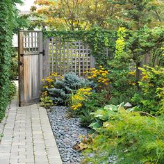 concrete pavers to create a lovely garden path. Then, a mixed planting of perennials and trees were added and mulched with black Japanese ri...