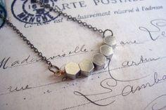 Silver Hexagon Row necklace - silver plated geometric beads - handmade £16.00 Geometric Jewelry, Brass Chain, Minimalist Jewelry, Silver Necklaces, Necklace Lengths, Silver Plate, Arrow Necklace, Plating, Handmade Items