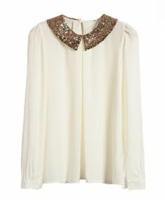 Paillette Collar White Chiffon Blouses with Keyhole