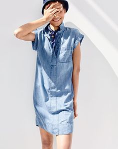 ee424b953e93 Short-sleeve chambray shirtdress. Denim Short DressesWomens Denim DressDenim  JumpsuitChambray DressShort Sleeve Denim ShirtJ Crew ...