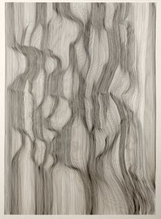 """made-to-mention: """" Each Line One Breath by John Franzen he creates textured drawings remeniscent of wrinkled fabric or waves of water by drawing tediously placed rows of lines with black ink. """""""