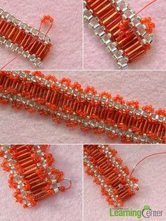 Add red glass seed beads ornaments