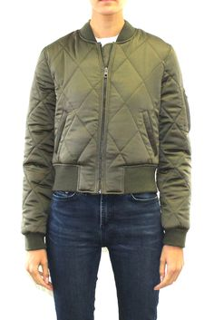 Cropped quilted bomber jacket (in Olive or Black)  #bomberjacket #cropped #womensjacket #jacket