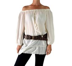 Color - Off White/Cream  Material - 100% Cotton  These stunning blouses are made from soft lightweight cotton. Can be worn on or off the shoulder. A unique, quality top at a great price! Only from Zootzu!  - Has long pull string to gather top at shoulder for easy sizing.  Sizing:  M Bust/Chest: 50 Waist: 60 Height: 29 Sleeve Length: 22  XL Bust/Chest: 64 Waist: 70 Height: 30 Sleeve Length: 22