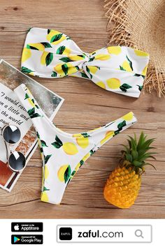 Only $15.99 For Lemon Print High Cut Bikini Set. Free Shipping For 2018 Latest Fashion, ALL Enjoy More Discount!