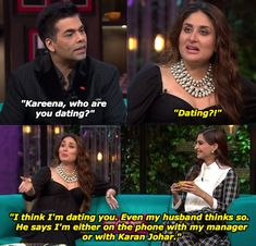 """When Kareena admitted to going strong with Karan. 18 Hilarious Moments From Kareena Kapoor Khan And Sonam Kapoor's """"Koffee With Karan"""" Episode Latest Funny Jokes, Very Funny Jokes, Crazy Funny Memes, Wtf Funny, Funny Quotes, Hilarious, Cocky Quotes, Veere Di Wedding, Koffee With Karan"""