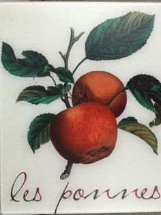 """Red Apples Tempered Glass Cutting Board """"Les Pommes"""" French"""