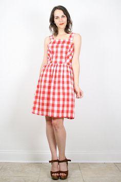 Vintage Red White Plaid Dress Gingham Plaid by ShopTwitchVintage