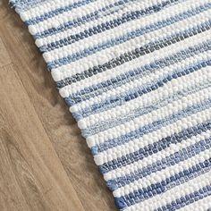 Mack & Milo™ Striped Handmande Braided Cotton Bright Blue/Navy Rug & Reviews   Wayfair Room Rugs, Rugs In Living Room, Area Rugs, Blue And White Rug, Faux Fur Area Rug, Rug Loom, Navy Rug, Textiles, Weaving Patterns