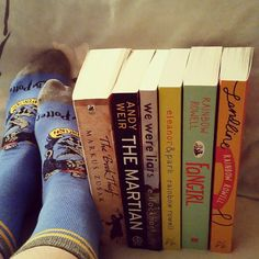 #celineannajillmarch16  Day 27 - Recommended Stand-Alones  Happy Easter and #socksunday everyone! Here are some of the stand-alones I recommend there is more but I was too lazy from eating all day to lift up my bed to look for them The Book Thief by Markus Zusak  The Martian by Andy Weir We Were Liars by E. Lockhart Eleanor & Park by Rainbow Rowell  Fangirl by Rainbow Rowell  Landline by Rainbow Rowell  Also look at my cute house pride sock for Ravenclaw #bibliophile #books #booklove…
