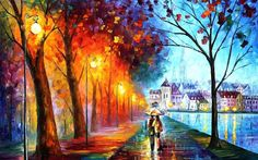 C_X361 Light House Walking Rain City Scenery .HD Canvas Print Home decoration Living Room bedroom Wall pictures Art painting