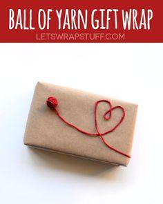 ball of yarn gift wrap