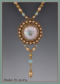 Beaded, Bead Embroidered, Dichroic Glass Necklace.