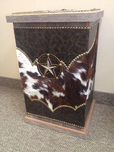 FANCY WESTERN LEATHER AMD COWHIDE HAMPER | Western Decor by Signature Cowboy