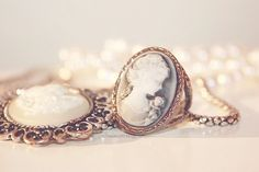 Lovely cameo ring and necklace. I just bought a pink-and-white cameo ring myself!