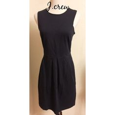 J.crew ladies black dress size 4 Cute little black dress from j.crew..dress has hidden back zipper with hook and eye for closure...cute sleeveless dress...dress has 2 front pockets...100% cotton..good condition..no tears or stains ...smoke pet free home..bust..26..length..34 J. Crew Dresses