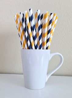 25 Navy Blue and Yellow / Gold and White Striped Paper Party Straws and DIY Printable Drink Flags / Wedding / San Diego Chargers