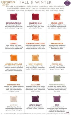 Scentsy Fall & winter 2015 scents $5 each, 6 bars $25 (buy 5 get 1 free!). Order at https://corysnyder.scentsy.us  Join my team  Host a virtual party